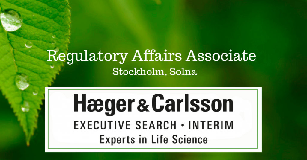 Regulatory Affairs Associate Stockholm, Solna